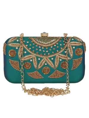 Anekaant Adorn Embroidered Faux Silk Clutch Bottle Green & Gold