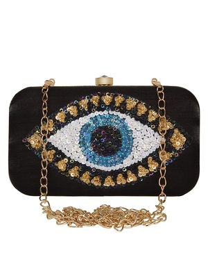 Anekaant Adorn Embellished Faux Silk Clutch Black & Multi