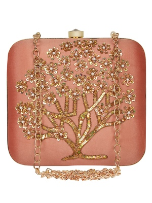 Anekaant Vista Embroidered Faux Silk Clutch Peach & Gold