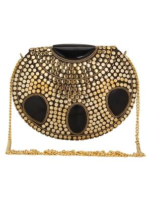 Anekaant Jewel Mosaic Metal Clutch Gold & Black
