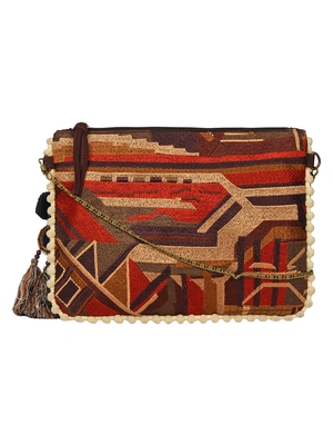 Anekaant Abstract Brown & Multicolor Canvas Sling Bag