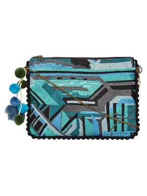 Anekaant Abstract Blue & Multicolor Canvas Sling Bag