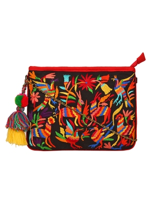Anekaant Classy Black & Multicolor Canvas Sling Bag
