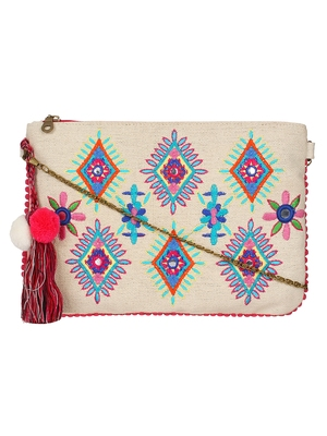Anekaant Classy Natural & Multicolor Canvas Sling Bag