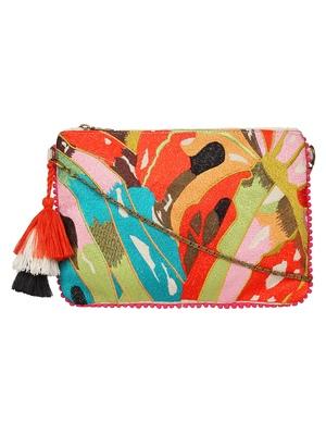 Anekaant Abstract Natural & Multicolor Canvas Sling Bag