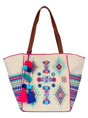 Anekaant Classy Natural & Multicolor Canvas Tote Bag