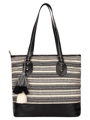 Anekaant Monochrome Black & White Cotton Tote Bag