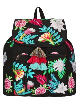 Anekaant Floral Black & Multicolor Canvas  Backpack