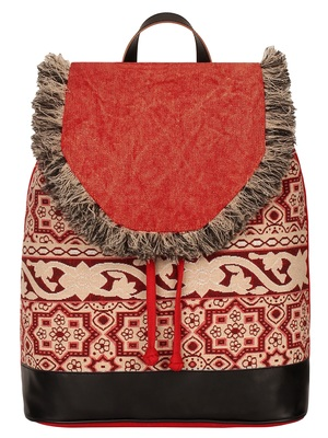 Anekaant Showy Red & Natural Geometric Cotton Canvas Backpack