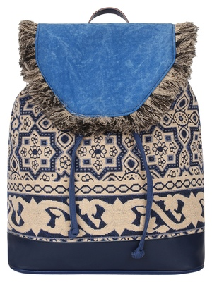Anekaant Showy Blue & Natural Geometric Cotton Canvas Backpack
