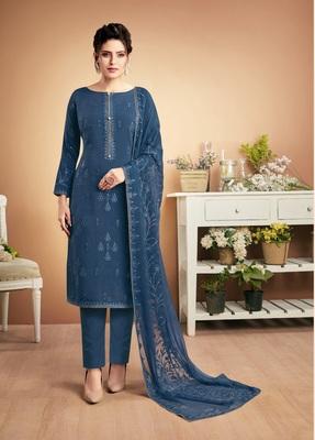 Blue self design silk salwar