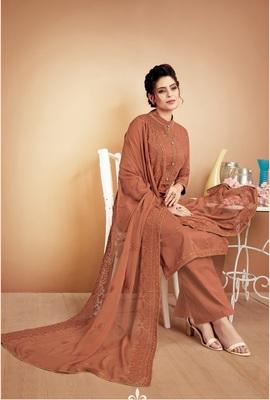 Brown self design silk salwar