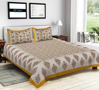 Handmade Animal design Pure Cotton Bed sheet And Two Zipper Pillows Cover With side Stitching ( Size 93 x 108 )