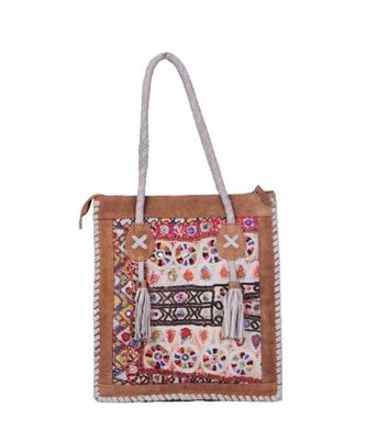 Indian Handmade cotton Brown Leather with jati work  Bag