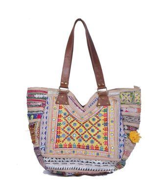 Indian Handmade cotton  White zari work  Bag
