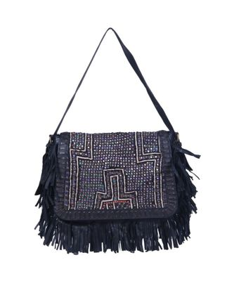 Indian Handmade cotton Black Leather  Bag