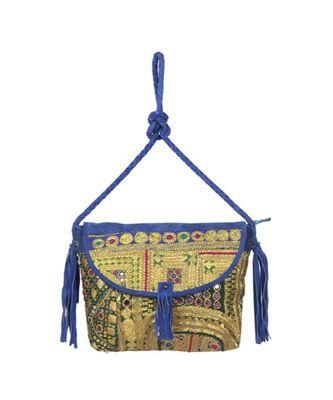 Indian Handmade cotton Blue Golden Zari work Leather Bag