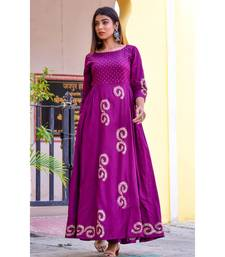 purple hand print silk kurtis