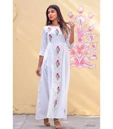 white hand print silk kurtis