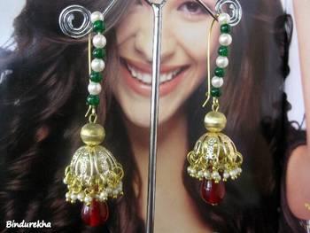 Brass_Jhumka_Green_Maroon_Beads_earrings