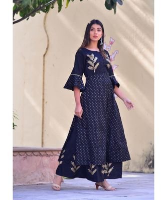 black hand print silk kurta sets