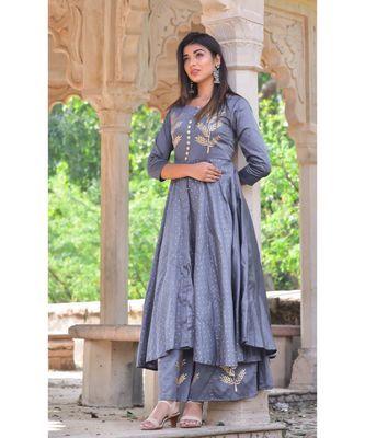 grey hand print silk kurta sets