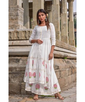 white hand print silk kurta sets