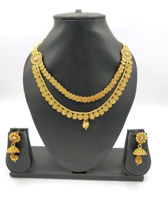 Gold Plated Traditional Temple Jewellery Set Laxmi Temple Coin Necklace with Earrings Set for Women Girls