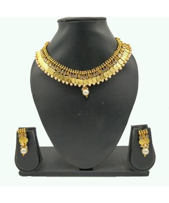 Gold Plated Brass Laxmi Coin Choker Necklace Set for Women and Girls