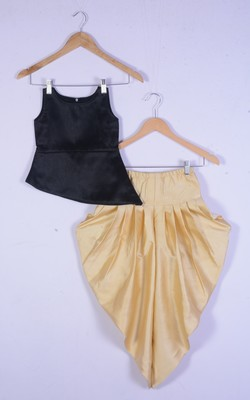girl black top and cream dhoti style dress for kids