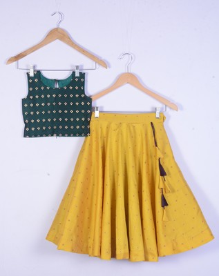 Girl Green Blouse And Yellow Lahenga Choli Set For Kids