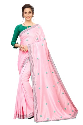 Pink embroidered art silk saree with blouse
