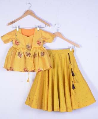 Girls Brocade Silk Yellow Lahenga Choli Set