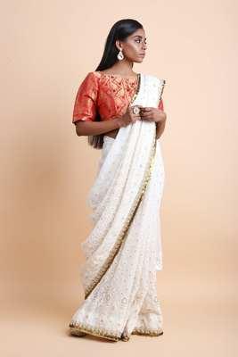White Chikankari Saree with Blouse