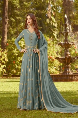 Grey Faux Georgette Anarkali Salwar Kameez Semi Stitched