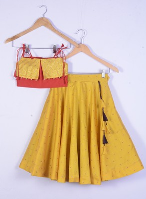 girl yellow designer lahenga choli set