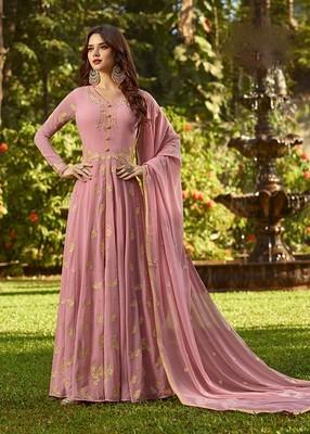 Pink Faux Georgette Anarkali Salwar Kameez Semi Stitched