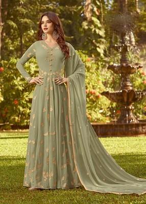 Green Faux Georgette Partywear Salwar Kameez Semi Stitched