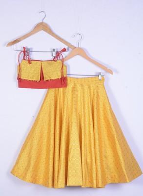 Girl Yellow Lahenga Choli For Kids