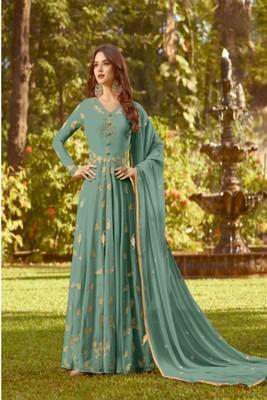 Blue Faux Georgette Partywear Salwar Kameez Semi Stitched
