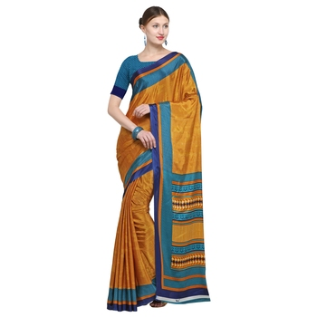 Mustard printed crepe saree with blouse