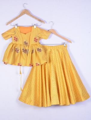 girl yellow designer lahenga choli set for kids