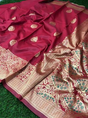 Red woven jacquard saree with blouse