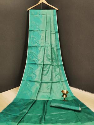 Sky blue woven tissue saree with blouse