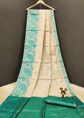 Cream woven tissue saree with blouse