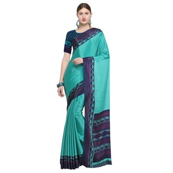 Teal printed crepe saree with blouse