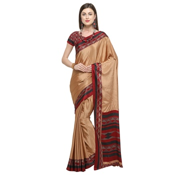 Coral printed crepe saree with blouse