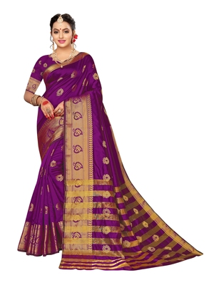 Purple woven poly silk saree with blouse