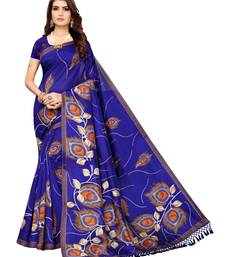 Blue Printed Poly Silk Saree With Blouse
