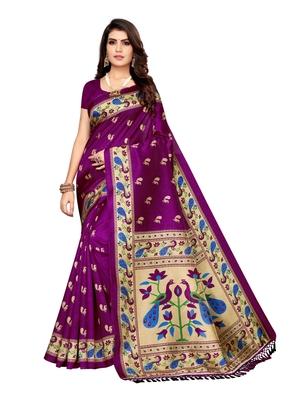 Purple printed poly silk saree with blouse